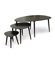 Baxton Studios Metis Dark Brown 3-pc. Modern Nesting Table Set