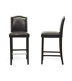 Baxton Studios Libra Set of 2 Modern Bar Stools with Nail Head Trim