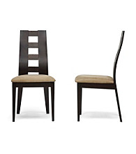 Baxton Studios Paxton Set of 2 Dark Brown Modern Dining Chairs