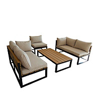 W. Designs Black 4-Piece All-Weather Outdoor Conversation Set with Cushions