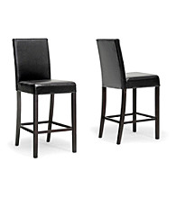 Baxton Studios Torino Set of 2 Dark Brown Modern Counter Stools