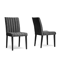 Baxton Studios Stripp Set of 2 Microfiber Modern Dining Chairs