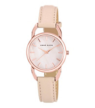 Anne Klein® Women's Rose Goldtone Blush Leather Watch