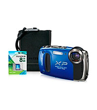 FujiFilm® FinePix Waterproof XP55 14MP Blue Camera with Accessories