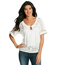 Nine West Vintage America Collection® Cierra Short Sleeve Scoopneck Keyhole Lace Top