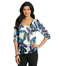 Black Rainn™ Roll Sleeve Tie Neck Feathered Print Top