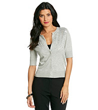 Jones New York Sport® Buttonfront Light Grey Sequin Cardigan
