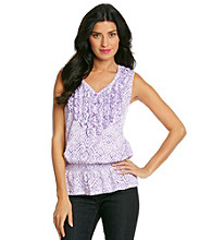 Jones New York Sport® Sleeveless V-Neck Henley Printed Ruffle Tank