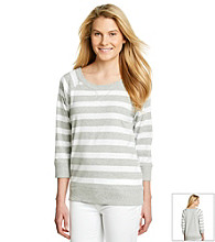 Jones New York Sport® Scoopneck Striped Raglan Pullover Top