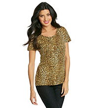 Jones New York Sport® Brown Multi Cheetah Print Tee