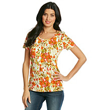 Jones New York Sport® Green Multi Floral Tee