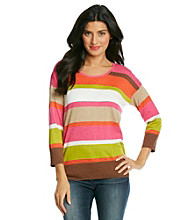 Jones New York Sport® Pink Multi Striped Sweater
