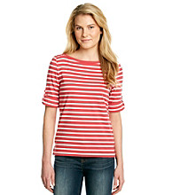Jones New York Sport® Striped Tee With Buttoned Shoulders
