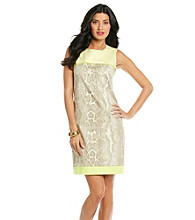 T Tahari® Sleeveless Scoopneck Snake Print Dress