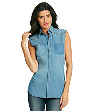 Vince Camuto® Sleeveless Snap Front Distressed Western Shirt