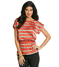 MICHAEL Michael Kors® Short Sleeve Boatneck Ascot Stripe Top