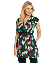 Tea Rose Sleeveless V-Neck Abstract Print Dress