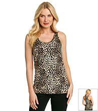 Tea Rose Sleeveless Scoopneck Animal Print Tank