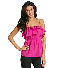 Tea Rose Sleeveless Squareneck Ruffle Front Tank