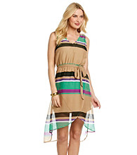 Tea Rose Sleeveless V-Neck Striped Hi-Low Hem Dress
