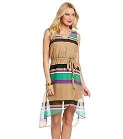 Tea Rose Sleeveless V-Neck Striped Hi-Low Hem Dress