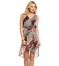 Tea Rose Sleeveless V-Neck Snake Print Hi-Low Hem Dress