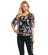 Tea Rose Short Sleeve Boatneck Shear Abstract Print Top