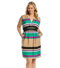 Tea Rose Plus Size Sleeveless V-neck Striped Dress