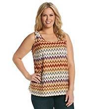 Tea Rose Plus Size Sleeveless Scoopneck Zig-Zag Print Tank