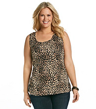 Tea Rose Plus Size Sleeveless Scoopneck Animal Print Tank