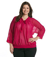 TeaRose Plus Size Tie Neck Sheer Top