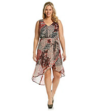Tea Rose Plus Size Sleeveless V-Neck Snake Print Hi-Low Dress