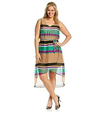 Tea Rose Plus Size Sleeveless V-Neck Striped Hi-Low Dress