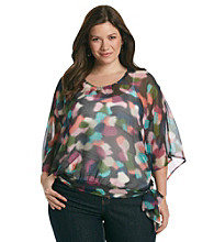 Tea Rose Plus Size Boatneck Sheer Abstract Print Top