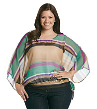Tea Rose Plus Size Boatneck Sheer Striped Top