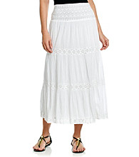 Studio West Crocheted Tiered Long Solid Skirt