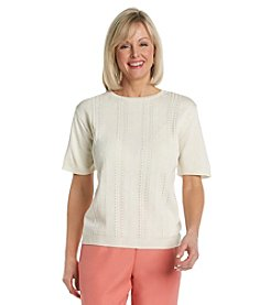 Alfred Dunner® Crewneck Short Sleeve Solid Sweater