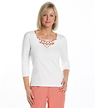 Ruby Rd.® Scoopneck Solid Beaded Top