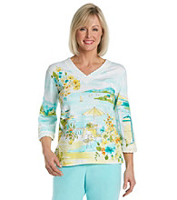 Alfred Dunner® V-Neck Lace Trim Scenic Print Top