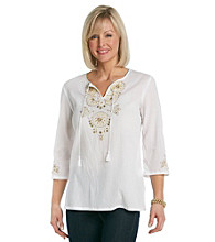 Alfred Dunner® Splitneck Embellished Top