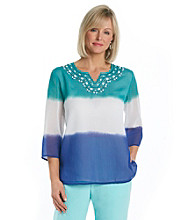 Alfred Dunner® Splitneck Beaded Dip-Dye Top
