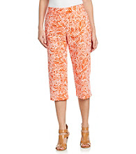 Briggs New York® Traditional Waistband Leaf Print Cropped Pants