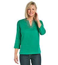 Cathy Daniels® Splitneck Embellished Solid Tunic Top