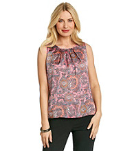 Notations® Sleeveless Scoopneck Paisley Print Top