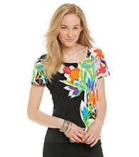 Notations® Short Sleeve Scoopneck Floral Print Top