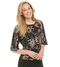 Notations® Dolman Sleeve Scoopneck Printed Blouse
