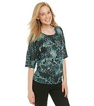Notations® Dolman Sleeve Scoopneck Animal Print Blouse