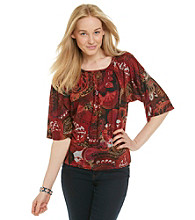 Notations® Dolman Sleeve Scoopneck Geometric Print Blouse