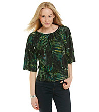 Notations® Dolman Sleeve Scoopneck Scale Print Blouse