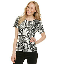 Notations® Short Sleeve Scoopneck Animal Print Shutter Top